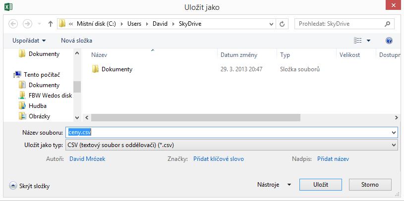 Uložení souboru ve formátu CSV