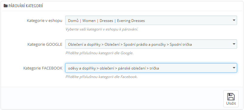 Párování kategorií pro XML data