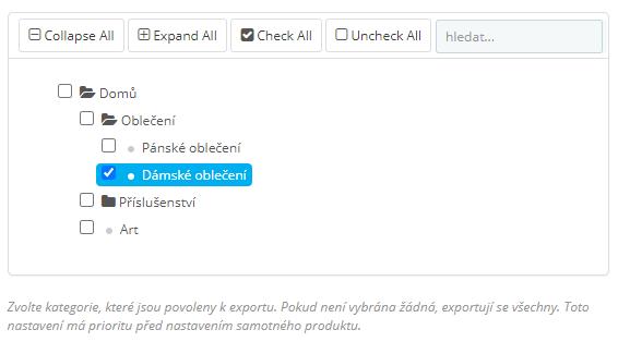 Výběr kategorií pro export do XML