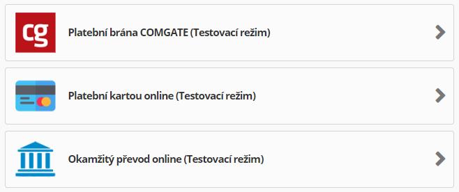ComGate pro PrestaShop - testovací režim
