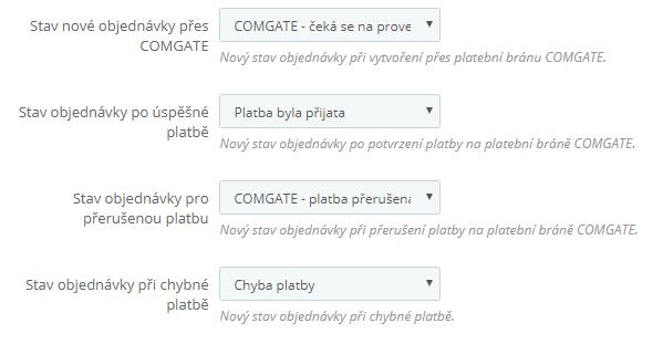 ComGate pro PrestaShop - konfigurace stavů objednávek