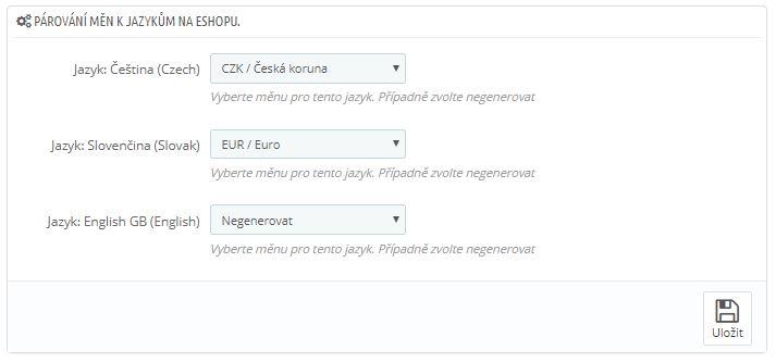 Párování měny k jazyku pro export XML dat