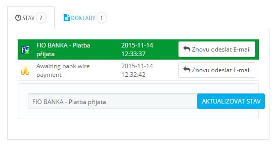 Fio Banka - modul kontrola plateb PRESTASHOP 1.6 - zápis stavů