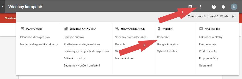 Postup vytvoření konverzního kódu pro Google AdWords