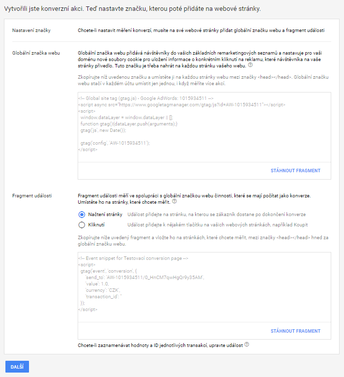 Postup vytvoření konverzního kódu pro Goggle AdWords