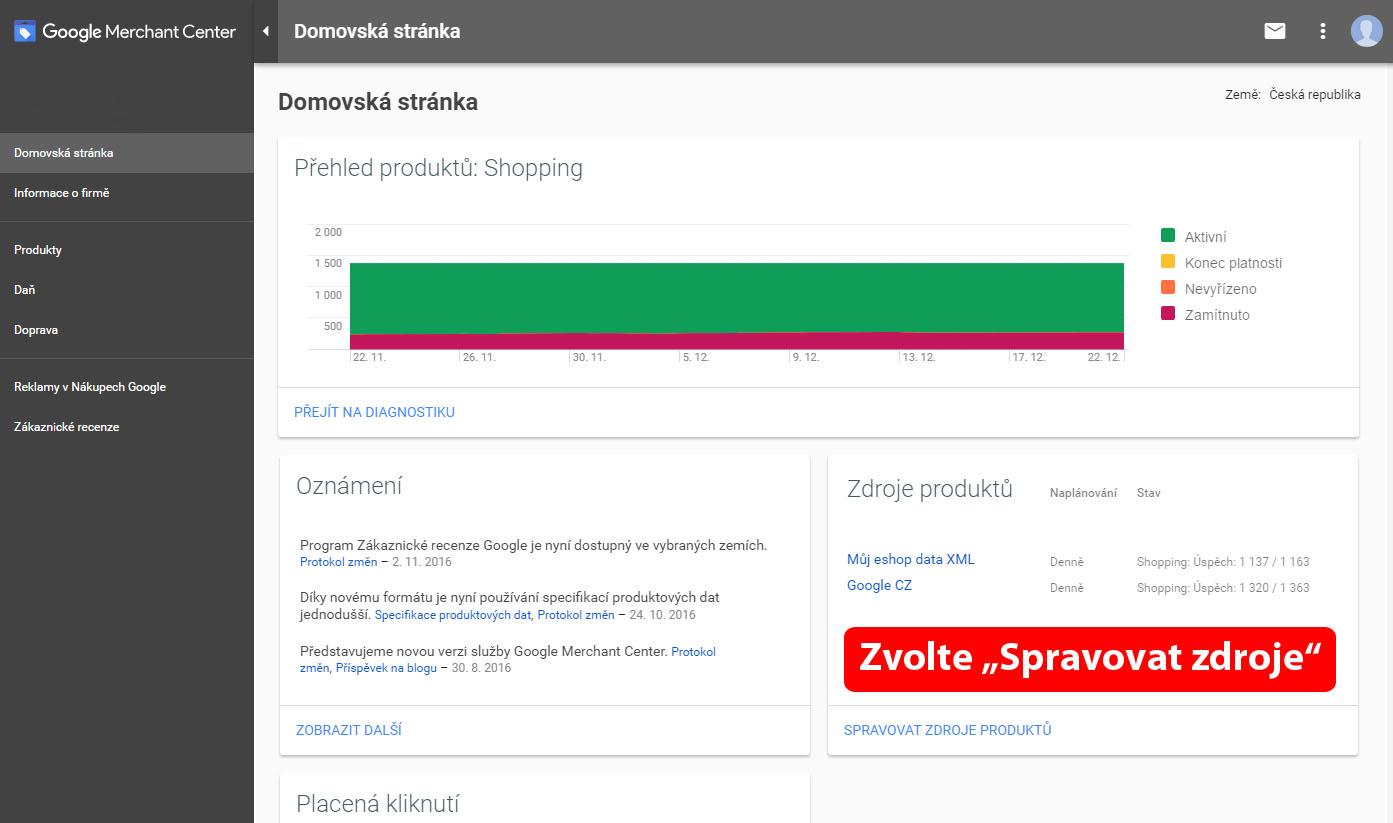 Založení nového zdroje dat v google nákupech