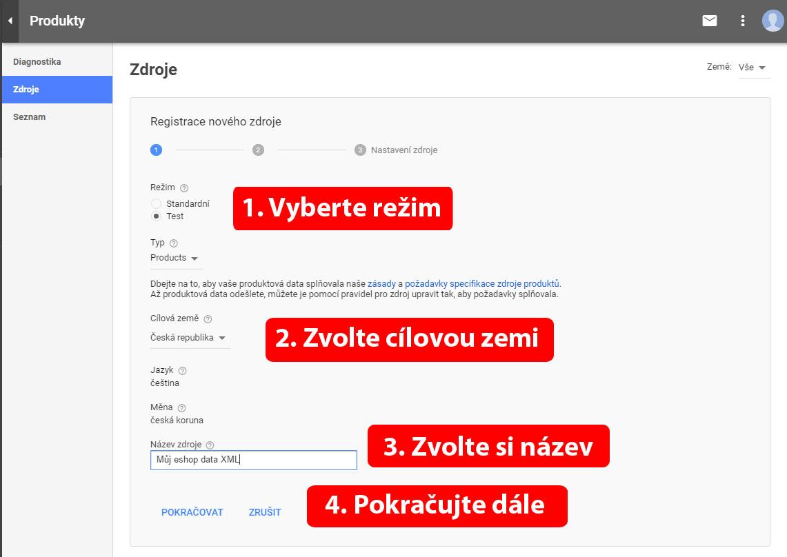 Registrace nového zdroje dat v google nákupech