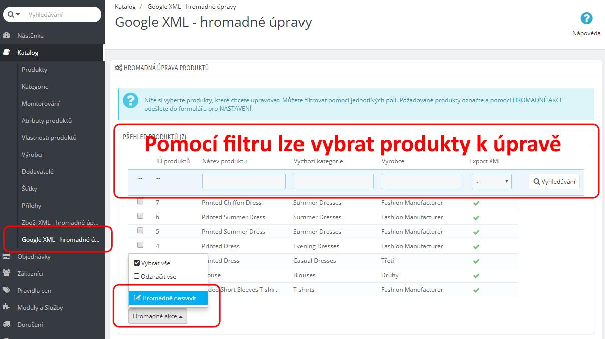 Google nákupy - hromadné úpravy produktů