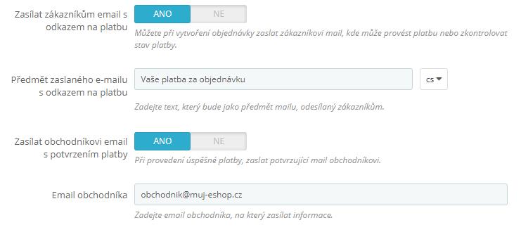 GoPay pro PrestaShop - emailový servis