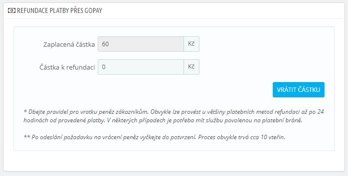 GoPay pro PrestaShop - refundace plateb