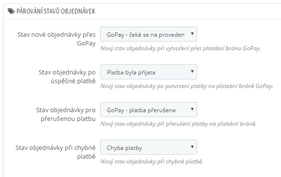 GoPay pro PrestaShop - konfigurace stavů objednávek