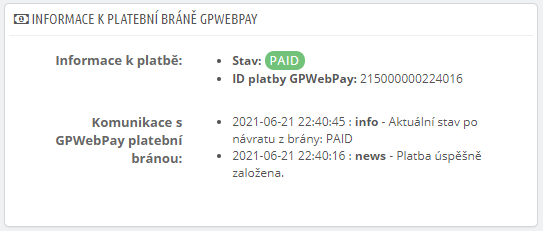 GpWebPay pro PrestaShop - detail objednávky zaplaceno