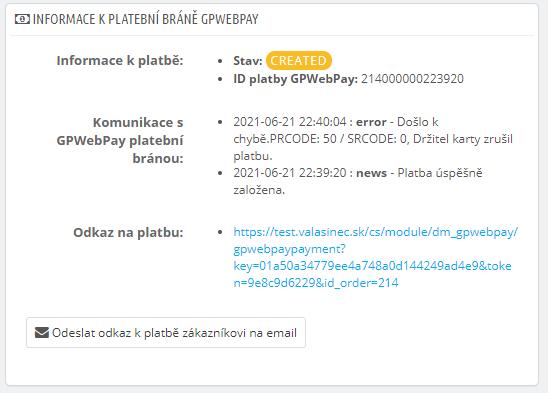 GpWebPay pro PrestaShop - detail objednávky