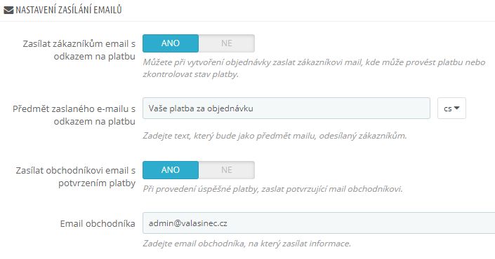 GpWebPay pro PrestaShop - emailový servis