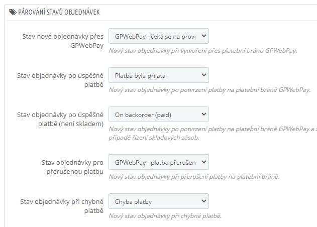 GpWebPay pro PrestaShop - stavy objednávky