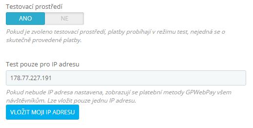 GpWebPay pro PrestaShop - testovací režim
