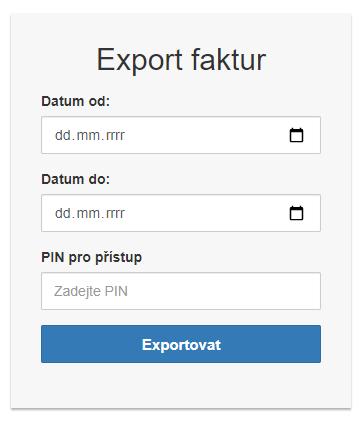 Export mimo administraci eshopu