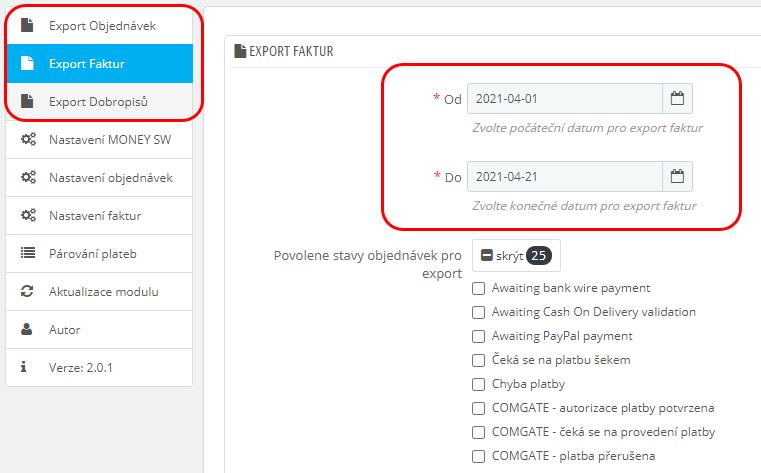 Typy dokladů pro export s filtrem