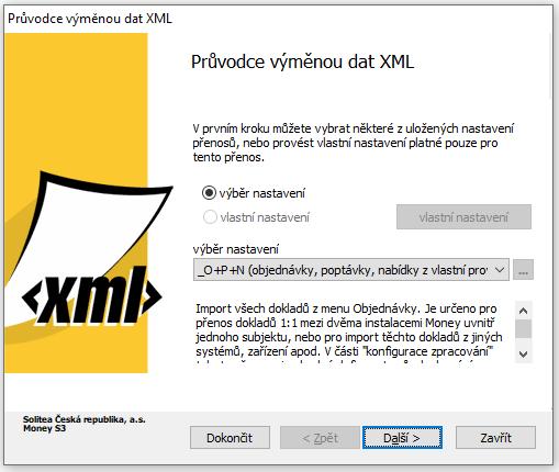Průvodce importem dat do MONEY z XML