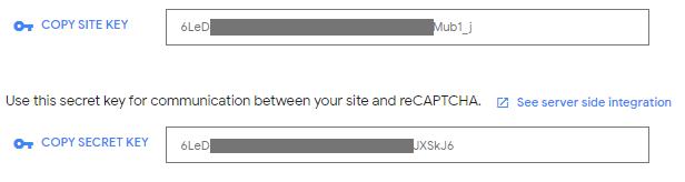 Klíče API pro službu reCAPTCHA