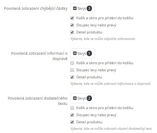 Zbývající částka modul - povolené zobrazení